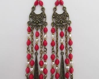 Boho Chandelier Shoulder Duster Earrings - Red/Cream