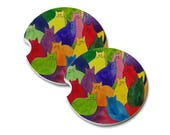 Colorful Kitties in Rainbow Colors Round Natural Sandstone Drink Coaster Sets Home Decor Truck Car Abstract Cat Art Cat Lover Cat Gift
