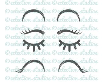 Eyelash SVG, Eye svg, sleep eyes, happy eyes, lashes for mermaid or unicorn, SVG, DXF, eps, jpg, png file for silhouette/cricut machine