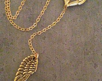 Angel Wing Heart Necklace  Winged Heart Gold Or Silver  Wings Of Love Jewelry ~