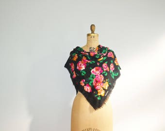 Echo  Wool Scarf  Vintage Black Shawl with Flowers