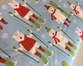 Polar Bear fabric, Ski fabric, Frosty Friends Christmas Fabric, Cotton fabric by the Yard, Polar Bears in blue- Choose the cut