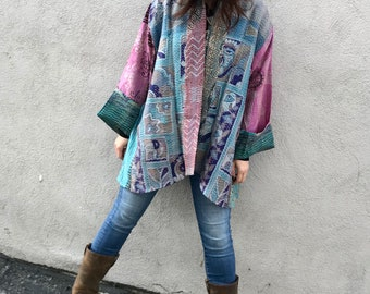 Plus size silk kimono reversible jacket in a stunning combo of lavender and blue