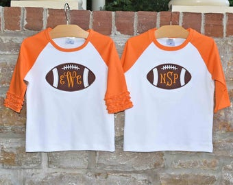 FOOTBALL TIME Monogram Tee - Custom Monogram Ruffle Raglan Shirt - Boys and Girls Football Monogram Shirt  - Julianne Originals