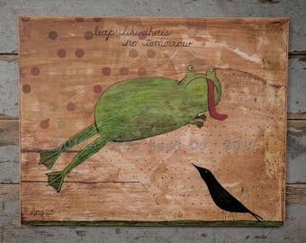 Leaping Frog Crow Painting Whimsical Folk Art Mixed Media 11x14