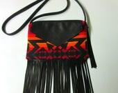 Fringed Cross Body Bag Purse Shoulder Black Deer Leather Native American Print Southwest Style Fire Colors