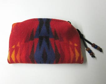 Wool Zippered Pouch Coin Purse Change Purse Accessory Organizer Southwest Print Wool from Pendleton Oregon