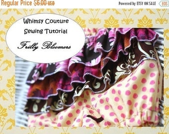 SALE How to sew ruffled bloomers frilly diaper cover girls ruffles sewing pattern PDF