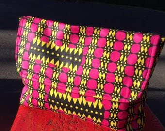 "Pink and Yellow African Wax Cloth 14"" Envelope Clutch Bag, Travel Bag, Document Case"