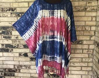 Plus Size Red, White and Blue Lightweight Rayon Tunic