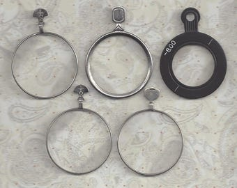 5 Vintage Silver and Brass Optical Lenses or Monocle type lens