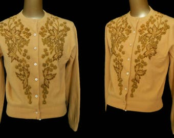 Vintage 50s Cardigan Sweater, 1950s Hand Beaded Gold Lambswool Blend Sweater, Size M to L