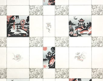 1930s Vintage Wallpaper by the Yard - Gray Black and Pink Tile Scenic Wallpaper