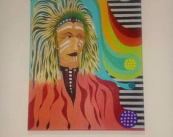 Abstract Indian chief ORIGINAL ACRYLIC PAINTING on Canvas Native American Fantasy Art By Warren Jay