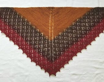 Hand Knit Gray to Copper Ombre Fingering Yarn Triangular Scarf or Shawl Gift