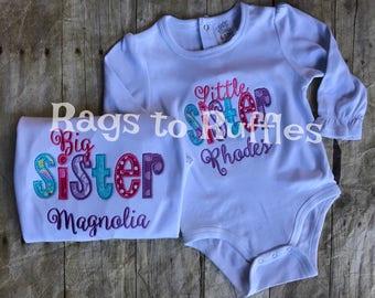 Big Sister Personalized Shirt- Big Sis Monogrammed Shirt- little sister monogrammed shirt-Big Sister Shirt