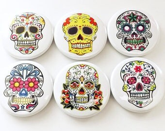 "Sugar Skull Dia De Los Muertos 1"" refrigerator MAGNETS Day of the Dead skeleton calavera stocking stuffer flair party favors shower gifts"