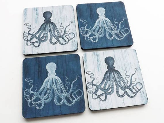 Coaster Set Octopus beach ocean theme gifts kraken tentacles sea life home kitchen decor nautical coastal cottage party favor wedding shower