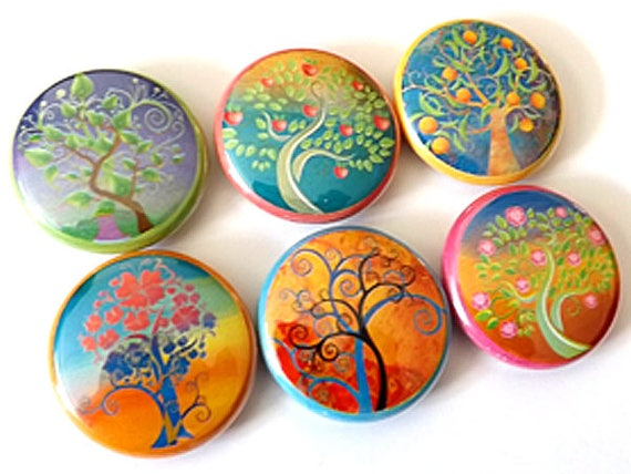 """Leaves Trees Flowers 1"""" Button Pins Badges Pinbacks retro nature mod flower fall autumn party favors stocking stuffers shower gifts"""