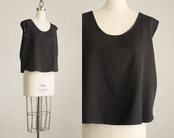 90s Vintage Black Loose Fit Tank Top / Size Medium / Large