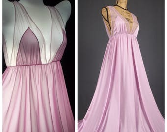 movie star nightgown vintage glam silky nylon sheer chiffon goddess sweeping soft gown lavender empire waist full length large lge l