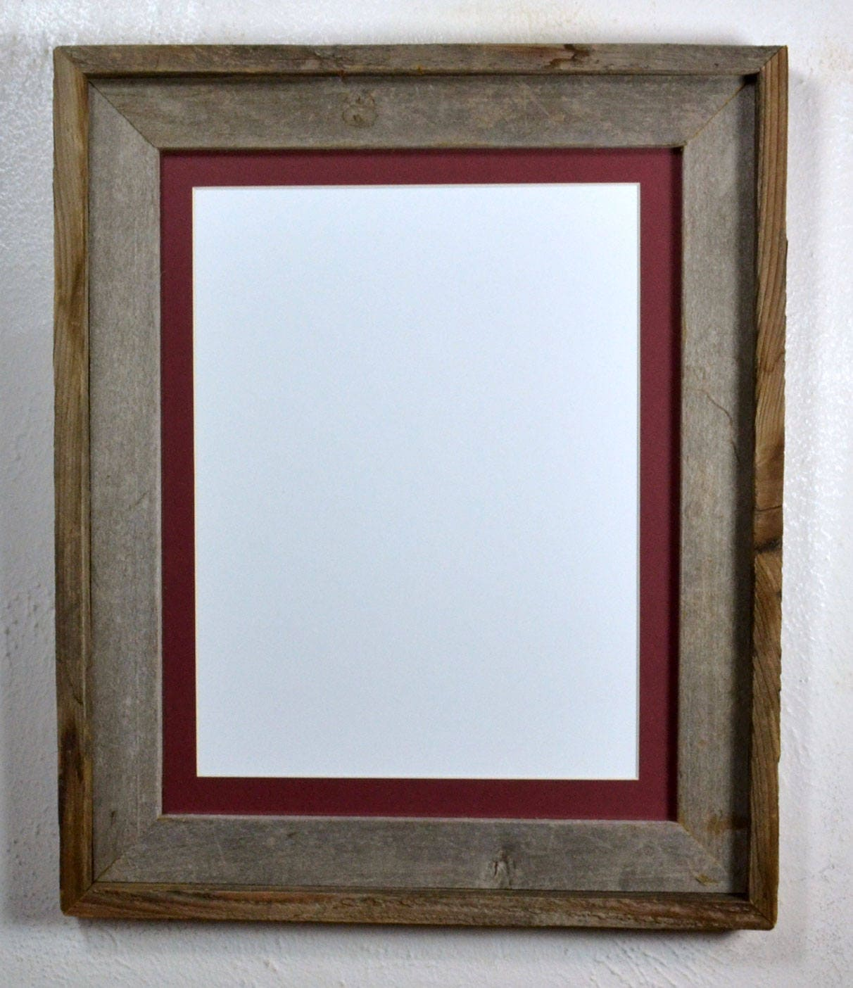 Picture Frame With 9 Quot X 12 Quot Maroon Mat Recycled Wood Fits
