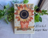 Handmade Thinking of You Card: 4.25 x 6.5, complete card, handmade, balsampondsdesign, flower pot, sunshine, yellow, get well, greeting card