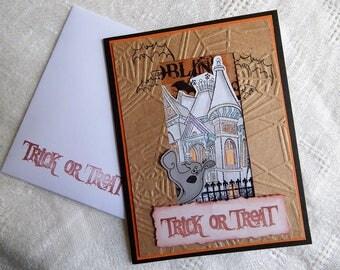 Handmade Halloween Card: haunted house, greeting card, trick or treat, friend, humor, friend, complete card, handmade, balsampondsdesign