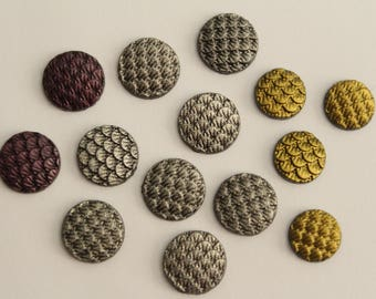 ONLY LOT - Mermaid Dragon Scale Cabochons - Gold Silver Metallic . 10mm 12mm (14)