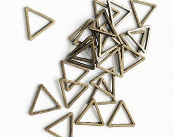 100pcs antique  brass triangle links 8mm, bulk triangle linking ring, antique bronze  triangle connector
