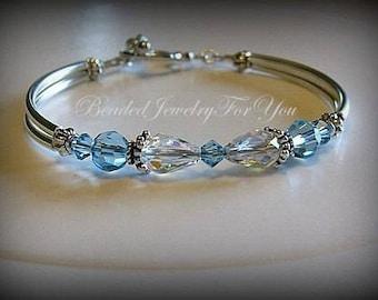 March Birthstone Bracelet: Bridesmaid Bracelet, Wedding Bracelet, Bridesmaid Jewelry, Something Blue, Wedding, Bridal Party Gift, Birthstone