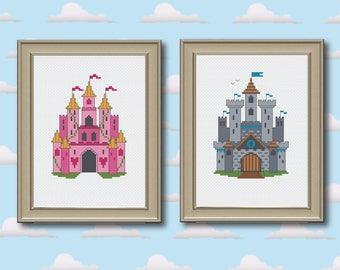 Princess Castle & Medieval Castle Cross Stitch Pattern Instant Download