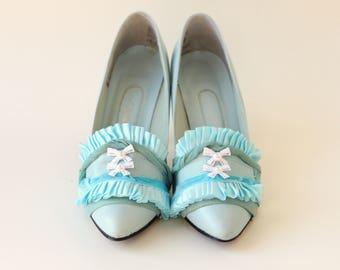 Embellished vintage heels, Marie Antoinette shoes, Something blue, Unique Wedding shoes, Bridal shoes, Size 5.5