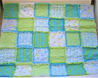 Rag Quilt Baby Blanket Turquoise Lime Green White