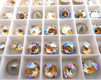6 Light Topaz Shimmer Swarovski Crystal Chaton  Stone 1088 39ss 8mm