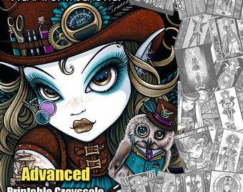 Set 4 - ADVANCED Grayscale Printable Coloring Pages - Steampunk Beauties - Myka Jelina - Fairy Coloring Book - Coloring Pages - Instant
