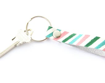 White Leather Key Fob, Hand Painted Leather, Gifts under 15, Key Ring For Women, Preppy Stripes, Pink Aqua Green, 3rd Anniversary Gift