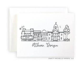 Athens, Georgia Skyline Notecard Set