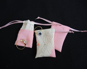 NEW Pink Geometric  kimono silk pouch -upcycled reuseable for rings, gifts, presentation,wedding- small but useful size- ready to ship