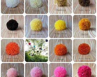 Set of 6 Yarn Pom Poms - Extra Large - 4.5 inch