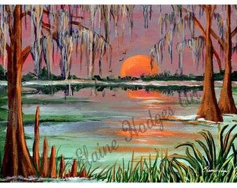 Bayou Swamp, Marsh, Sunset Art Print from Original Art