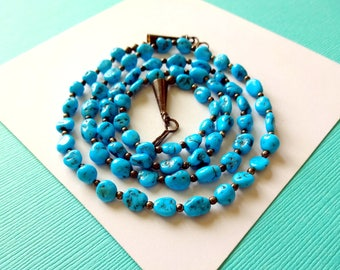 Turquoise and Sterling Santo Domingo Necklace
