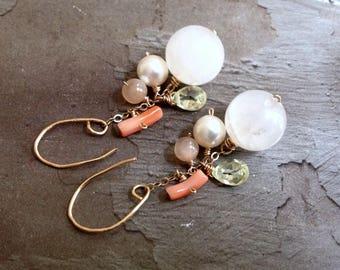 Rose Quartz Earrings - October Birthstone Earrings -Dainty Gold Earrings -Pink Coral Earrrings - Yellow CZ Earrings - Cluster Stone Earrings