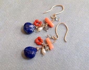 Lapis Lazuli Earrings - Coral Earrings - Whimsical Earrings -Apatite Earrings -Gold Dangle Earrings -Cluster Earrings - Mixed Stone Earrings