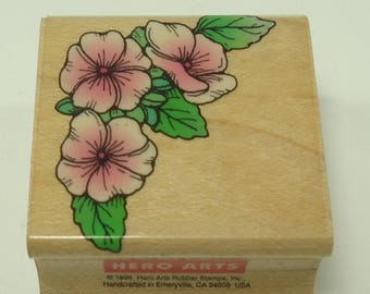 Small Flower Corner Wood Mounted Rubber Stamp By Hero Arts B1048, Flowers, Floral, Summer, Spring, Mother, Birthday