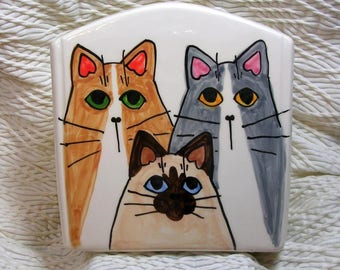 Cat Trio Napkin Holder Mail Holder File Folder Holder Handmade In Clay by Grace M Smith