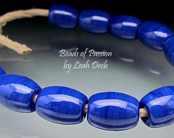 Handmade Glass Beads of Passion Leah Deeb - 12 Brilliant Blue Olives