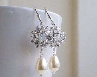 Summer Sale Bridal Earrings Swarovski Ivory Pearl Cushion CZ Sterling IE8P