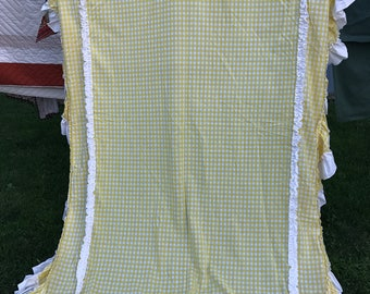 Vintage Yellow and White Gingham Check Bed Canopy with Ruffle