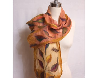Nuno Felted Scarf Ombre on Silk Gauze Art to Wear